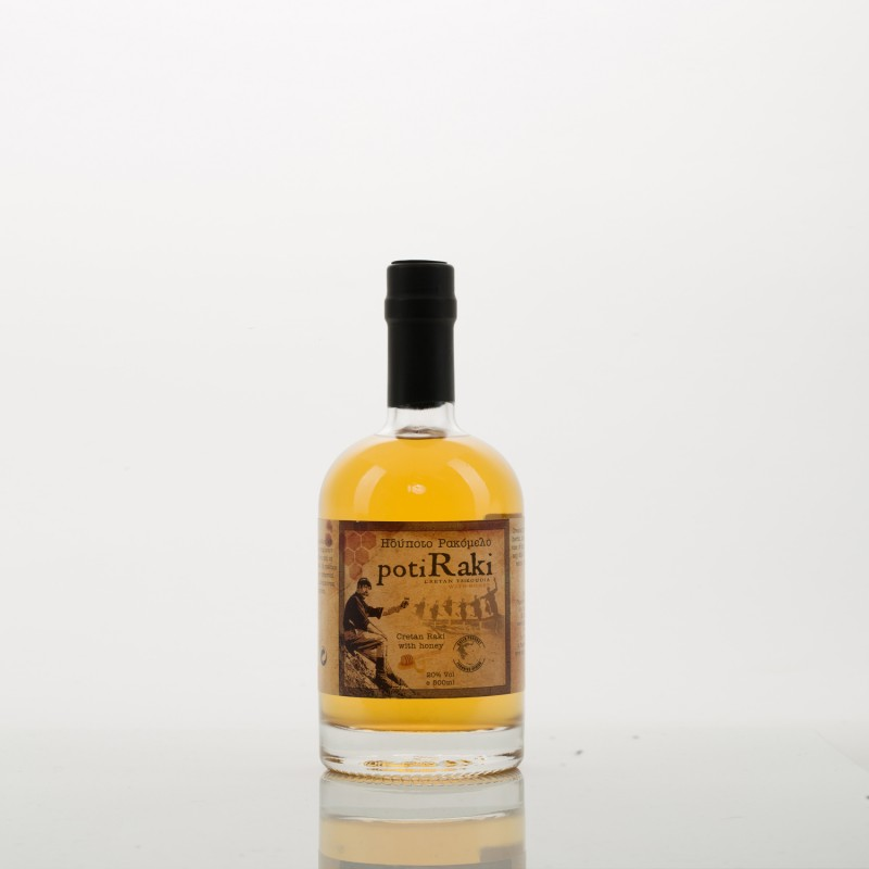 Ρακή με μέλι ρακόμελο PotiRaki 500ml σε φιάλη πολυτελείας