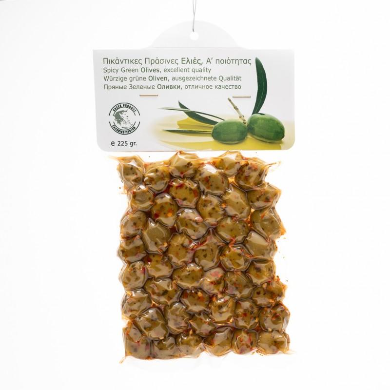 Ελιές Α΄ Ποιότητας 225gr Πράσινες Πικάντικες