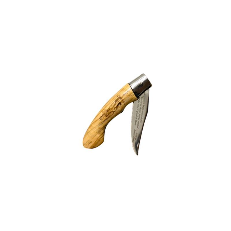 Κρητικός χειροποίητος σουγιάς με εγγύηση, ασφάλεια και λαβή από ξύλο ελιάς ( 21,5 εκ.) Ν3