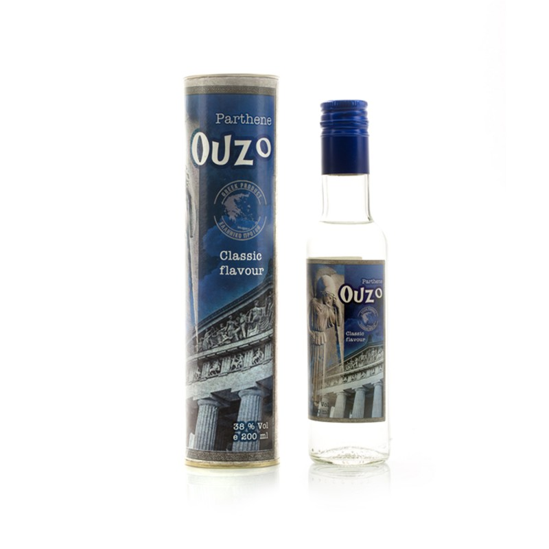Ouzo Parthene 200ml in a cylindrical box