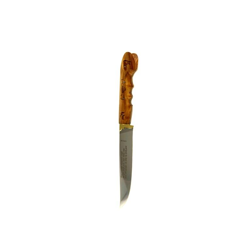 Κρητικό χειροποίητο μαχαίρι με εγγύηση και λαβή από ξύλο ελιάς (26 εκ., λάμα 3 χιλ.) Ν6