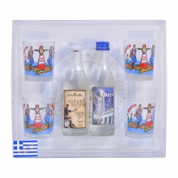 Gift set in plastic transparent box with 4 sponge and two drinks of 50ml